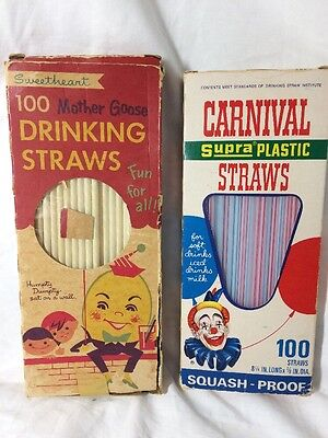 Vintage 60's 70's Sweetheart Mother Goose Humpty Soda Drinking Straws Carnival
