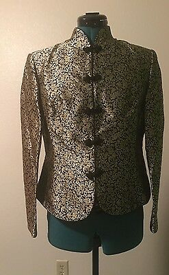 NWT Women's CHINESE JACKET Silk/Other Black/Gold Loop Closures XL