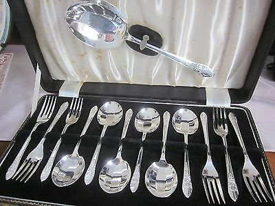 13pc vintage ANGORA silver plated DESSERT SET serving spoon, 6 forks & 6 spoons