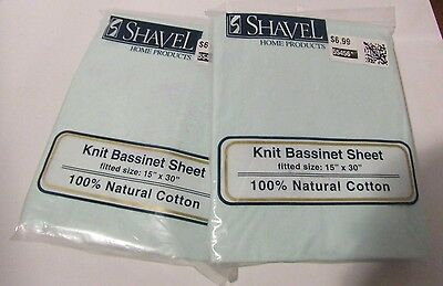 2 Shavel Home Products Jersey Knit Fitted Bassinet Sheet 100% Cotton Mint 15x30