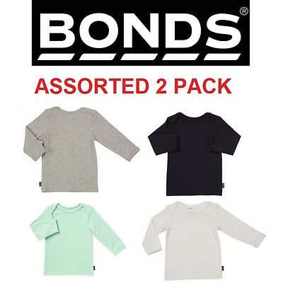 2 x NEW BONDS ASSORTED BABY LONG SLEEVE TOP Tee BLACK WHITE GREEN GREY Girl Boy