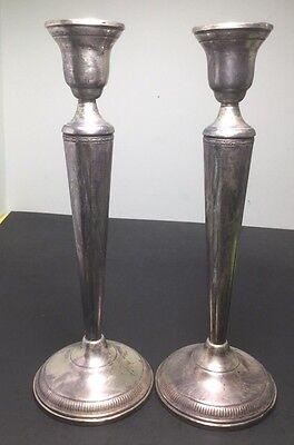 Pair Art Deco Styled Sterling Silver, Weighted Candlesticks