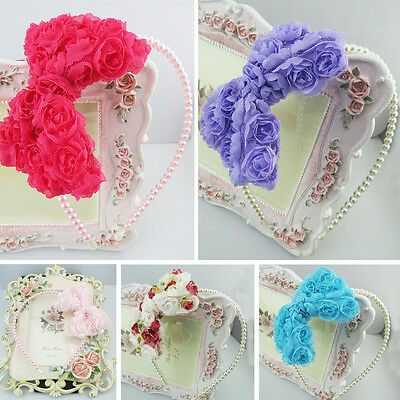 Baby Girl Bow Headband Hairband Princess Pearl Headwear Children Hair Accessory