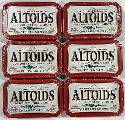 901864 6 x 50g TINS OF ALTOIDS - CURIOUSLY STRONG MINTS, PEPPERMINT! U.S.A.