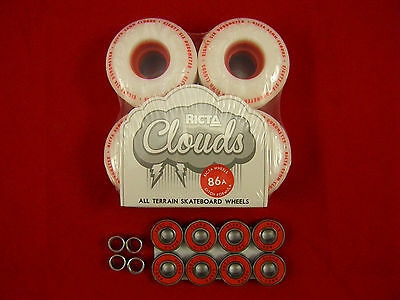 RICTA CLOUDS 55MM / 86a SKATE BOARD WHEELS + 8 x ABEC 11's