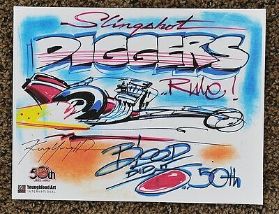 50Th Kenny Youngblood Signed Slingshot Diggers Rule Dragster Print