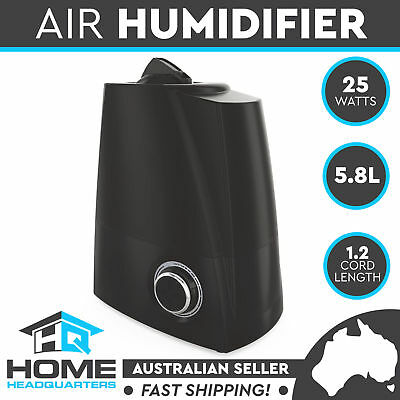 Ultrasonic Cool Mist Purifier Steam Nebulizer Diffuser Black Air Humidifier 5.8L