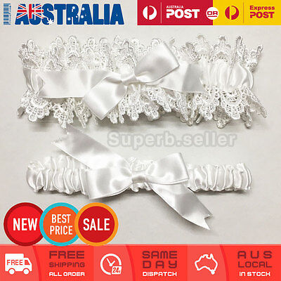 Ivory White Wedding Bridal Garter Set Lace Satin Bow Tossing Keep & Throw AU New