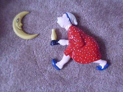 Vintage Ceramic Nursery Rhymes Man with Candlestick Moon Wall Hanging Plaque