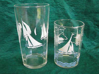 Vintage Swanky Swig ETA Peanut Butter Drinking Glass Sailing Boats (2 Glasses)