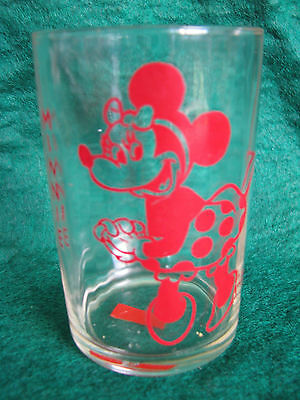 Vintage Swanky Swig ETA Peanut Butter Drinking Glass Red Minnie Mouse