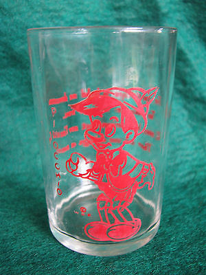 Vintage Swanky Swig ETA Peanut Butter Drinking Glass Red Pinocchio