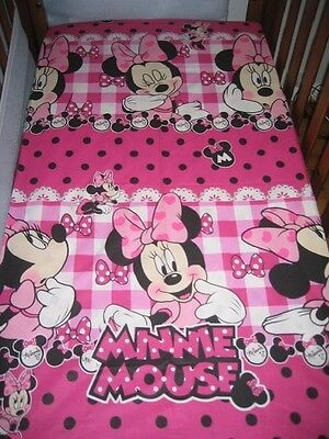 New Dark  Pink Minnie Mouse Polkadot Baby Cot Fitted Sheet + Junior Pillowcase