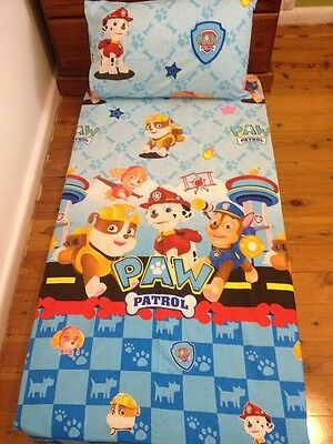 New Blue Paw Patrol Boys Cot Fitted Sheet + Pillowcase
