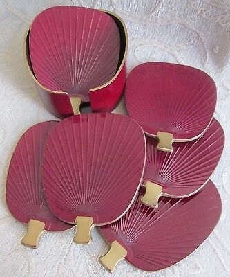 IMPERIAL LACQUERWARE Japan FAN SHAPED 6 coasters - small serving trays Holder