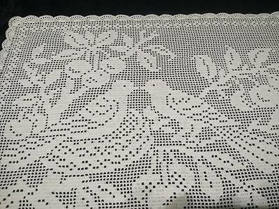 "Stunning White Filet Nesting Birds in trees ~Hand Crochet Lge Centre/mat 13""X20"""