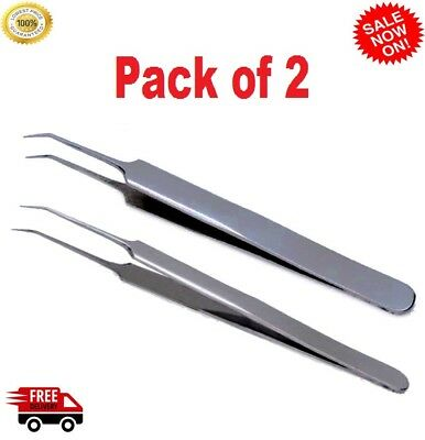1 Pair Extreme Volume Tweezers XD Russian Lash Long Deep Angled Precision Tips