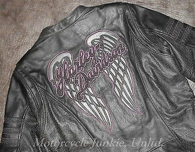 Women's Harley-Davidson NIGHT ANGEL WINGS Distressed Black Leather Jacket L