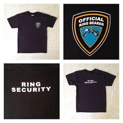 New NIP Official Wedding Ring Bearer T Shirt Black Security Party Gift Boy S M