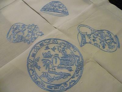 Blue Willow Pattern Tea Service ~Cups/teapot/plate++ Hand Embroidered Tablecloth