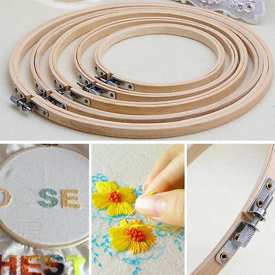 Round Wooden Cross Stitch Machine Embroidery Hoop Ring Bamboo Sewing 13-23cm