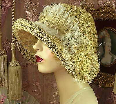 1920's Style Vintage Tan & Gold Cloche Corded Lace Flower Feather Flapper Hat