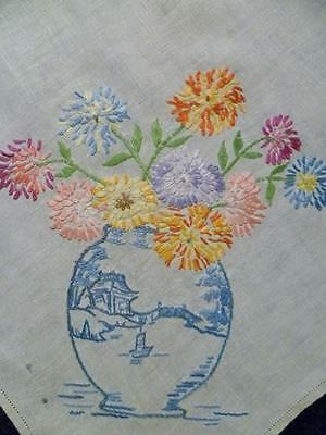 Stunning Blue Willow Vases filled with Chrysanthemum~Hand Embroidered Tablecloth