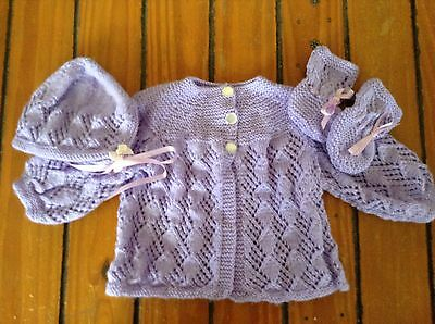 T 20 Hand Knitted Jacket Hat And Booties
