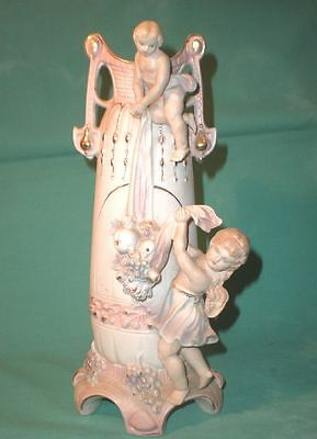 antique, vase w. girls and fruits, antique / bisque/Germany