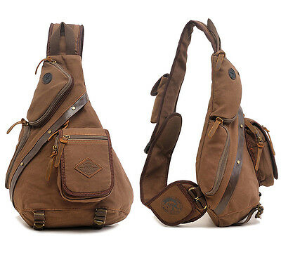 AU Stock Canvas Men's Backpack Travel Hiking Messenger Shoulder Sling Chest Bag