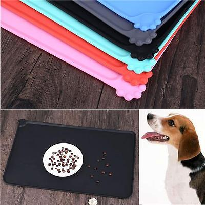 Square Silicone Placemat Dog Puppy Pet Cat Dish Bowl Food Water Mat Wipe Clean F