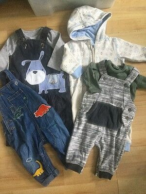 Next Baby Boys 3-6 Months Bundle Dungarees & All In Ones, Dinosaur, Soft, Denim