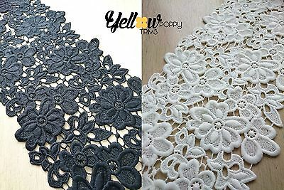 Wide Vintage Style Guipure Lace Trim Crochet Wedding Sewing Bridal Fabric 18cm