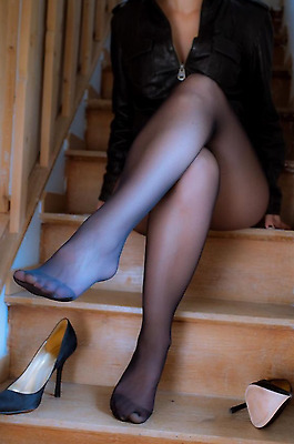Calze collant donna Usate Blu. Pantyhose Used Blue. Work Tights