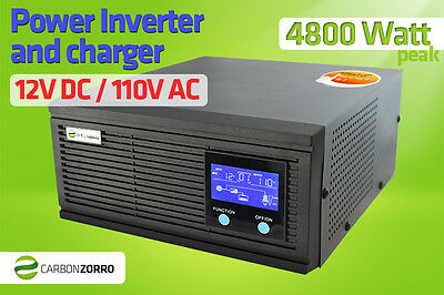 12VDC to 110VAC Inverter Charger 1600W (4800W) two way Solar, Boat, Motorhome RV