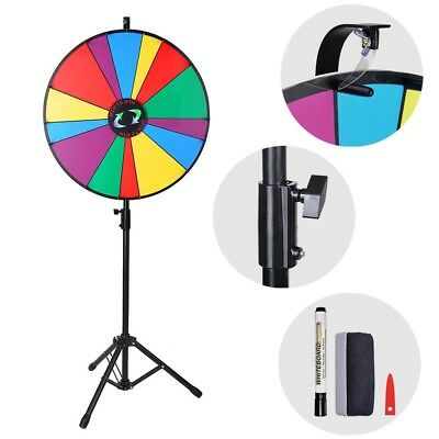 """24"""" Dry Erase Floor Prize Wheel Tripod Stand Party Foutune Spinning Win Game UK"""