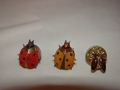 Vintage Gold Red Yellow Ladybug Bug Insect Tie Tac Pin Lot of 3