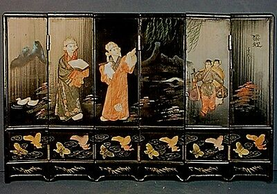 Vintage Japanese Black Lacquer & Carved Soapstone Six Panel Folding Table Screen