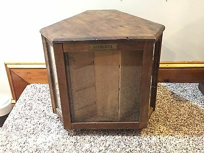 "Antique Rotating Wooden General Store Display Cabinet Case marked ""Alchester"""