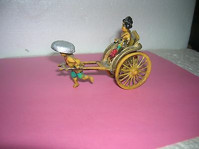 VINTAGE  Painted Celluloid Rickshaw Toy Figurine TOY SOLDIER 54MM