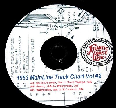 Atlantic Coast Line ACL 1953 Track Chart Pages Vol #2 on DVD