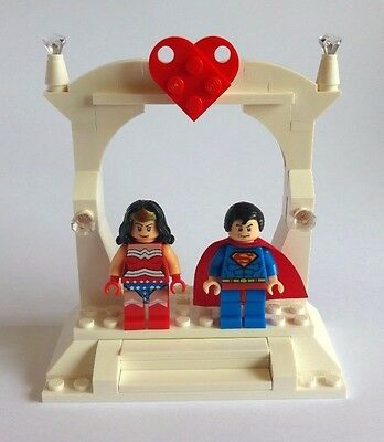 Unique Superman and Wonder Woman LEGO Wedding Cake Topper / Gift