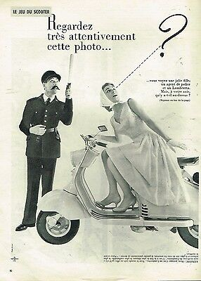 B- Publicité Advertising 1957 Jeu du Scooter Lambretta