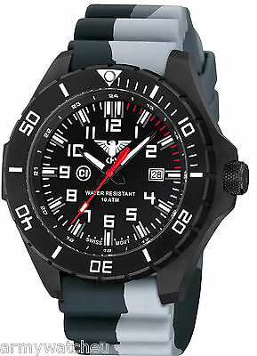 KHS Tactical Watches Landleader Black PVD Steel C1-Light Date Camouflage Grey