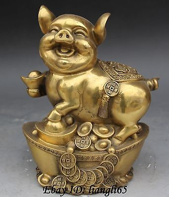"8"" Chinese Folk Wealth Bronze Zodiac Year Animal Stand Yuanbao Coin Pigs Statue"