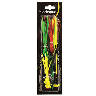 Packs of 120 Plastic DIY Cable Zip Ties (100mm & 200mm) Assorted Colours