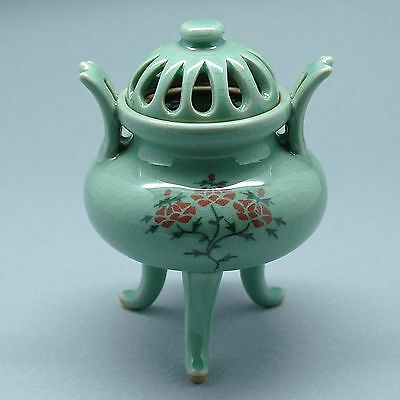 Exquisite inlaid celadon incense burner with long legs and lid