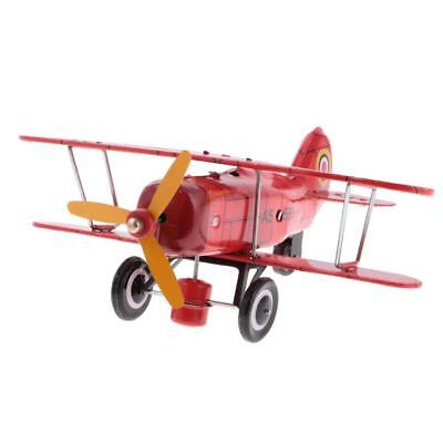 Classic Tin Toy Collectible Aircraft Plane Clockwork Wind Up Toy Gift Red