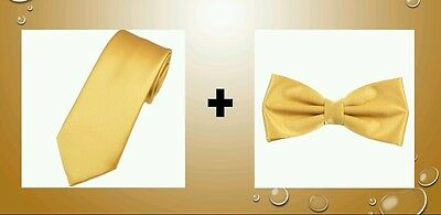 Rich gold satin tie AND bow tie for kids toddler baby FAST SHIPPING!