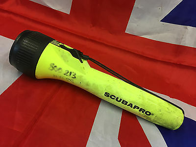 Scubapro Hi Vis YELLOW 4 D Cell Scuba Diving Torch British Army USED Grade 1